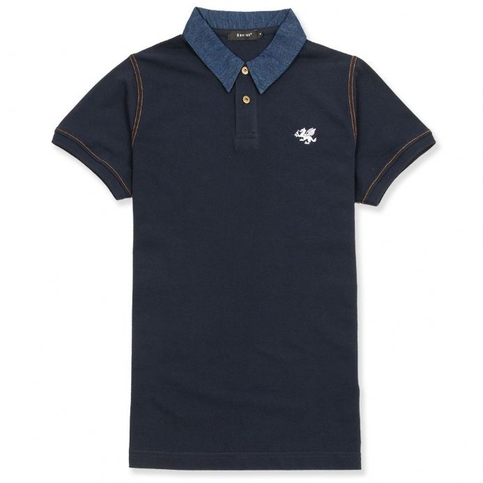 Senlak Denim Collar Polo Shirt - Navy